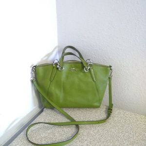 Coach Kelsey Green Pebbled Leather Bag